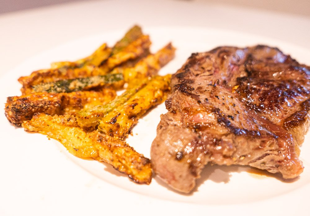 courgette fries and steak