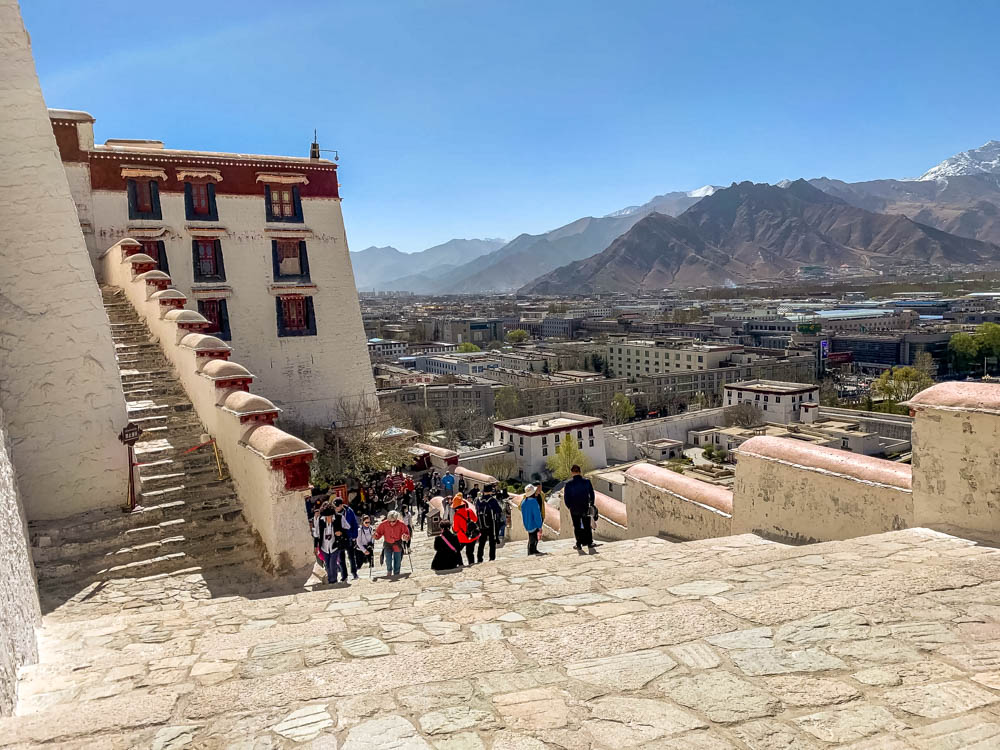 climbing front of Portala Palace