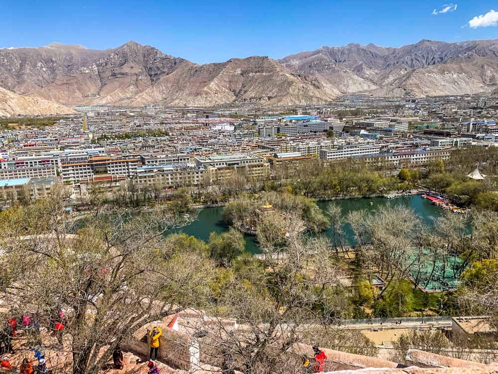 view of city park below Portala Palace