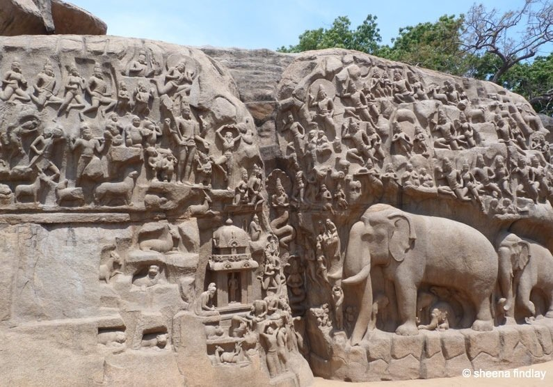 India the stone carvings of mamallapuram baldhiker