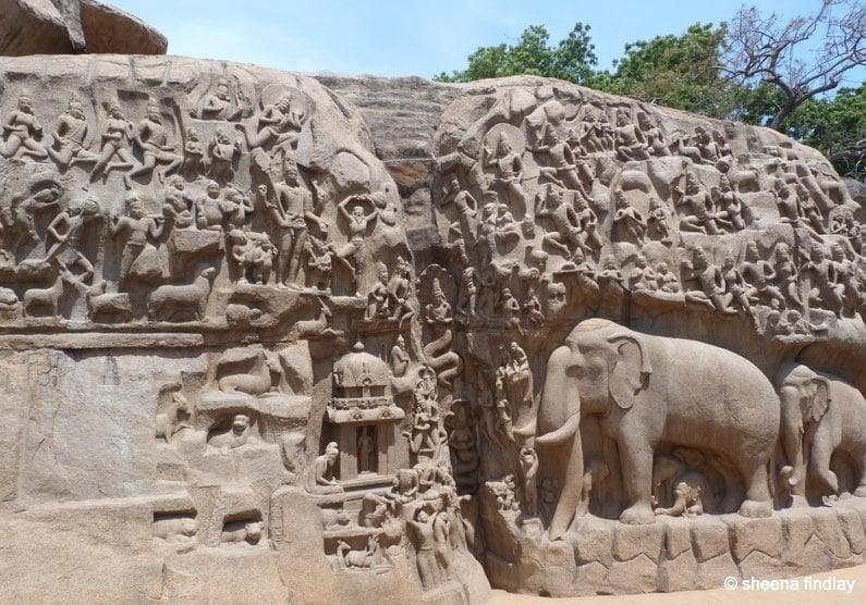 India the stone carvings of mamallapuram baldhiker