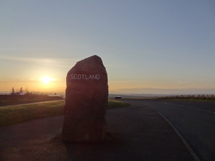 the border stone england and scotland on A68
