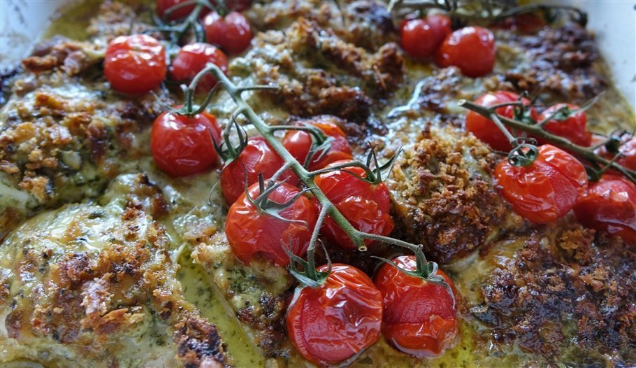 Pesto Cheesy Chicken with Roast Tomatoes