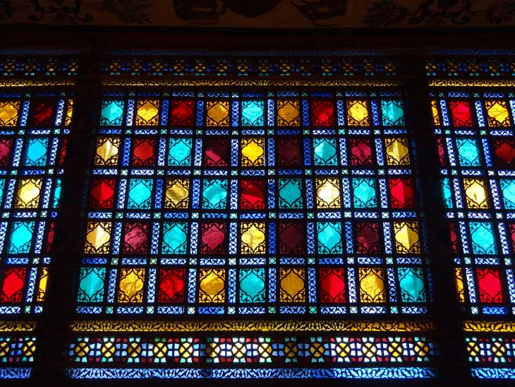 coloured windows of Sheki Kahn's Palace