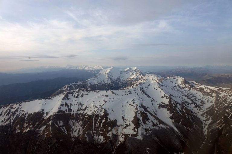 A low flight over the Sibillini Mountains
