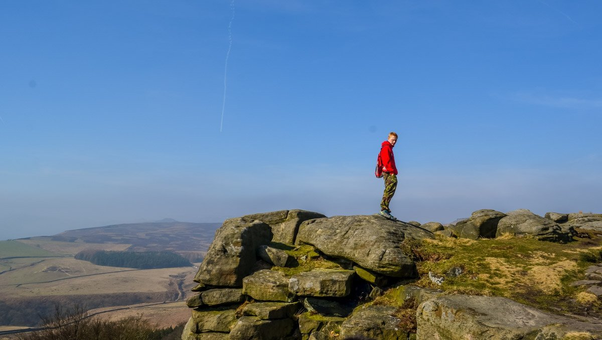 stood on the rocks of stanage edge