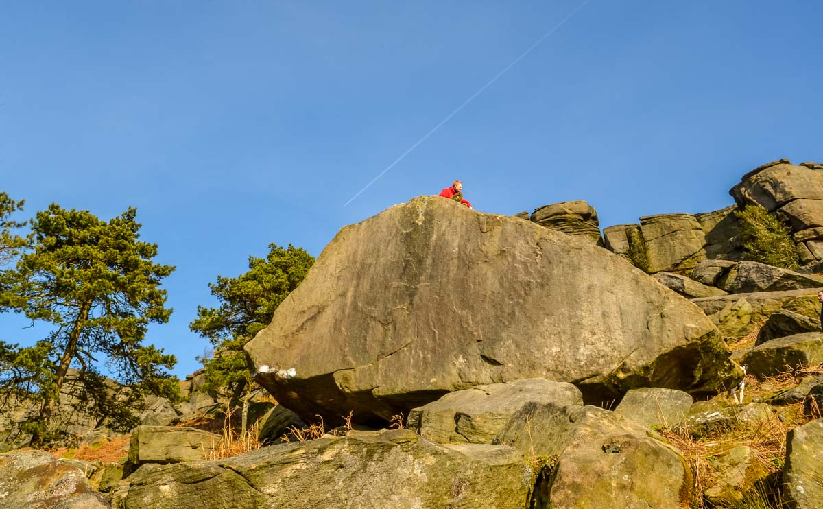 Eldest-Son-Takes-a-Break Stanage Edge and Robin Hoods Cave – A Stroll in the Peak District