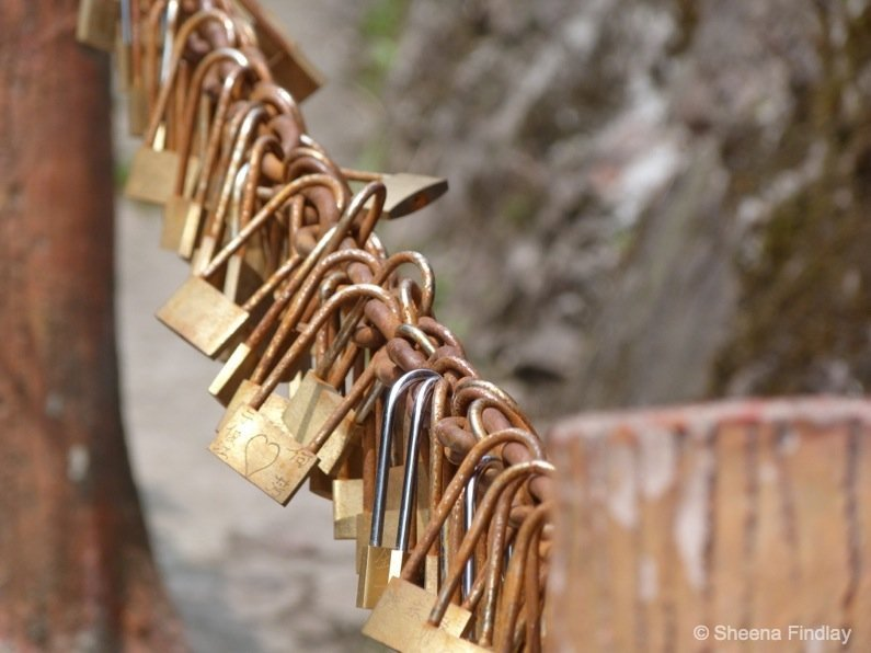 Engraved padlocks at The Baiyan Temple- china