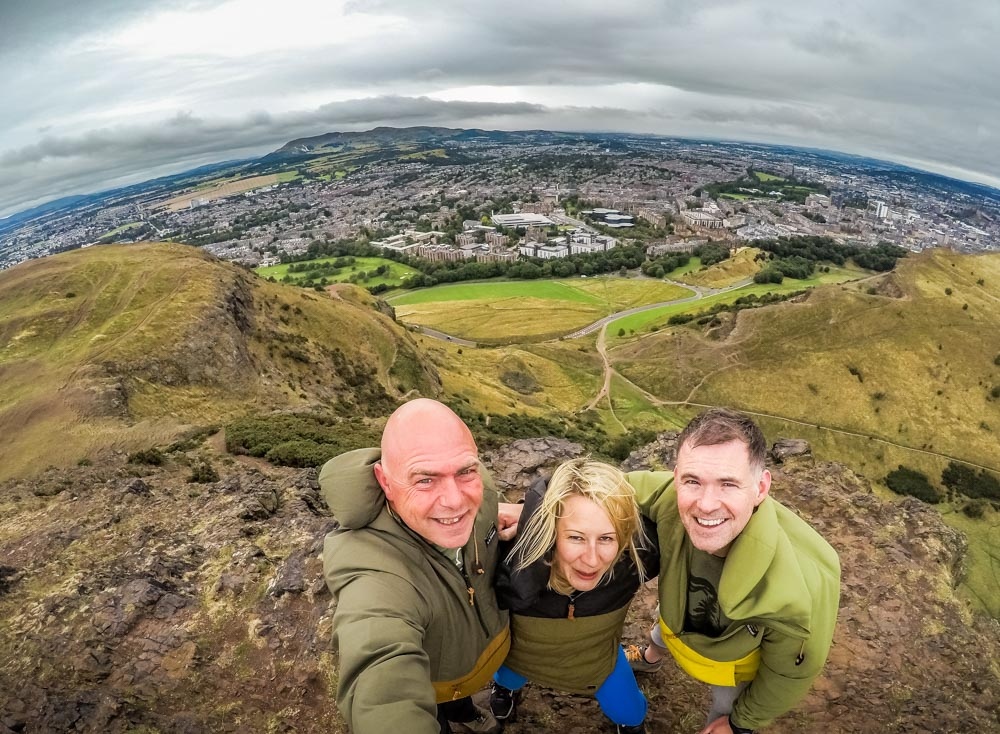 Team photo at the top of Arthurs seat