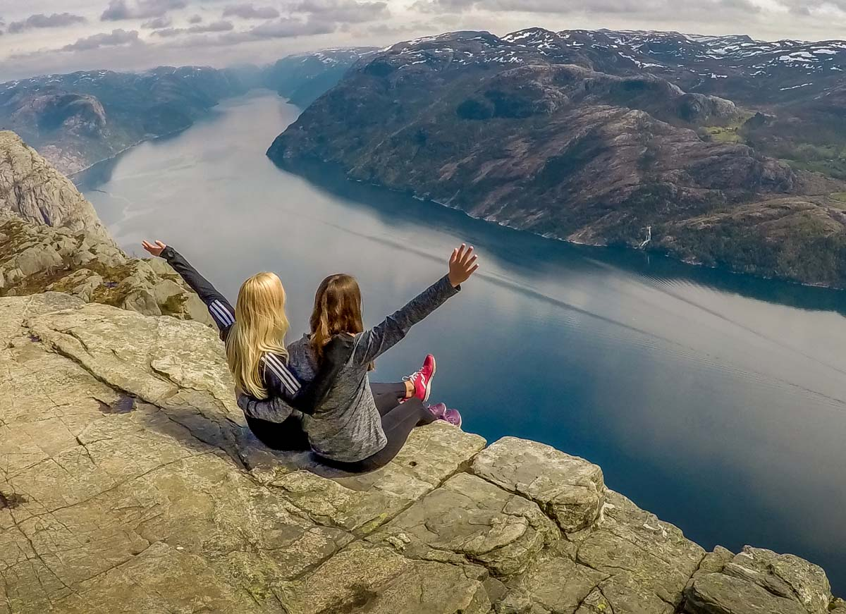 sitting on the edge of pulpit rock