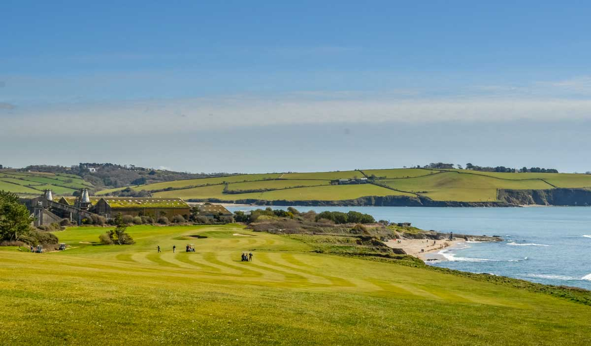 Golf-course-and-view-toward-Par Cornish Coastal Walk - Carlyon Bay to Par via Cliffs, Beaches & Coves