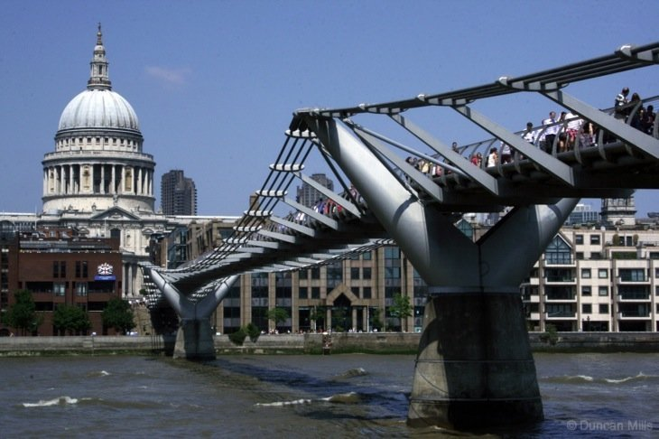 a view of the thames bridge and cathedral