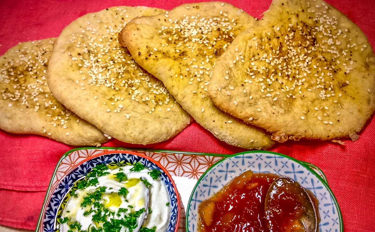 Moroccan Spiced Flatbread with Dips 1