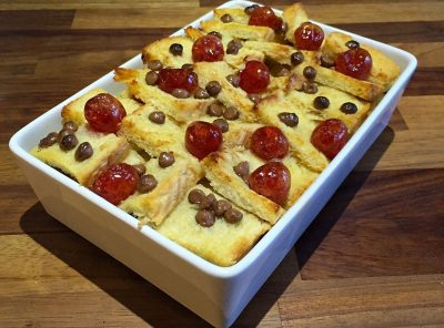 Cherry and Chocolate Chip Bread and Butter Pudding