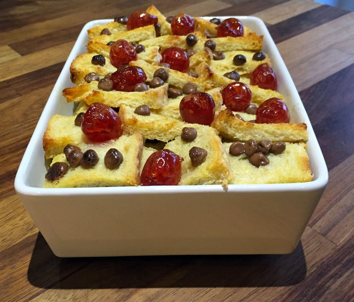 chocolate bread and butter pudding with cherries