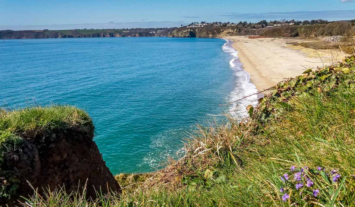 Looking-back-towards-Carlyon-Bay-beach Cornish Coastal Walk - Carlyon Bay to Par via Cliffs, Beaches & Coves