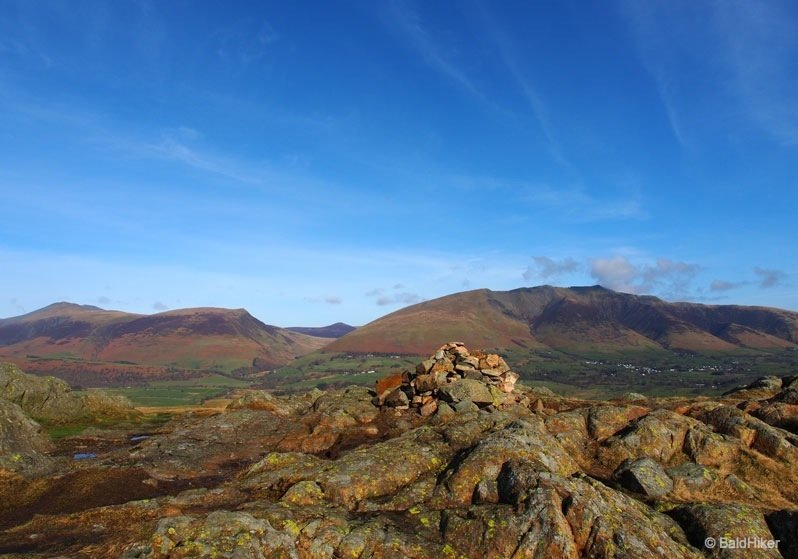 stone cairn on the rocky ridge