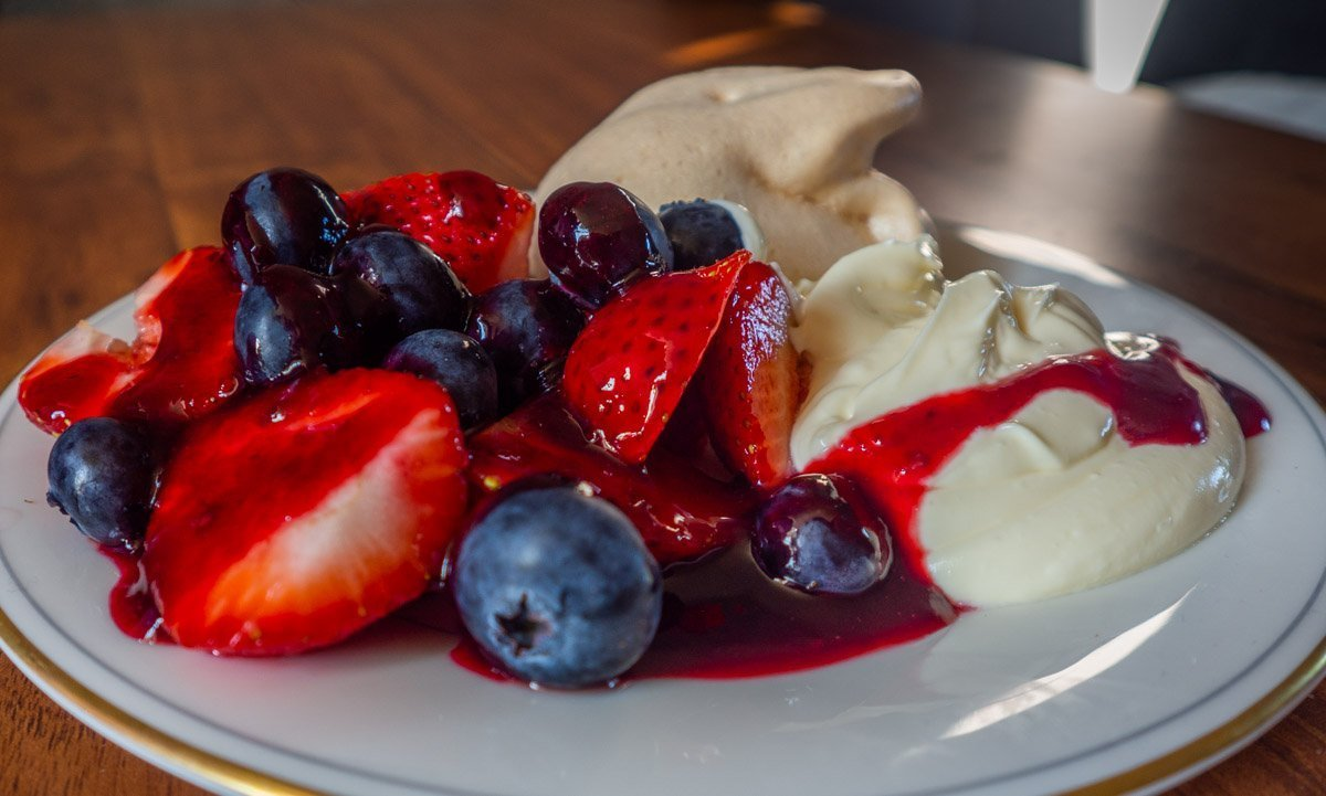 Summer Fruits With Meringue, Fruit Coulis and Rose Cream