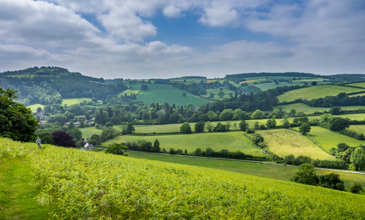 green hill and valley in shropshire