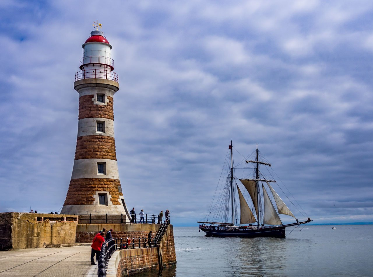 Roker pier lighthouse and ship