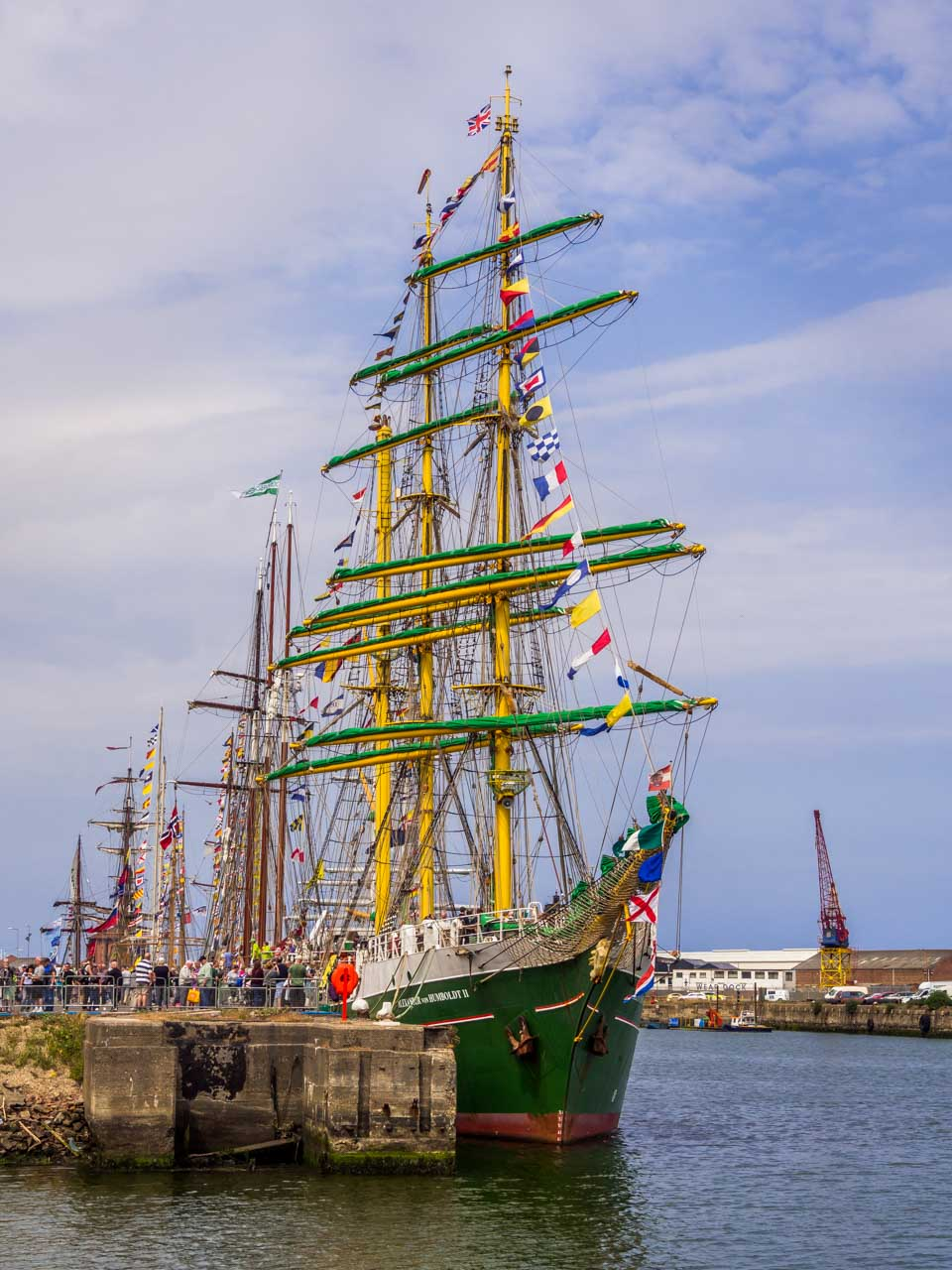green and yellow ship