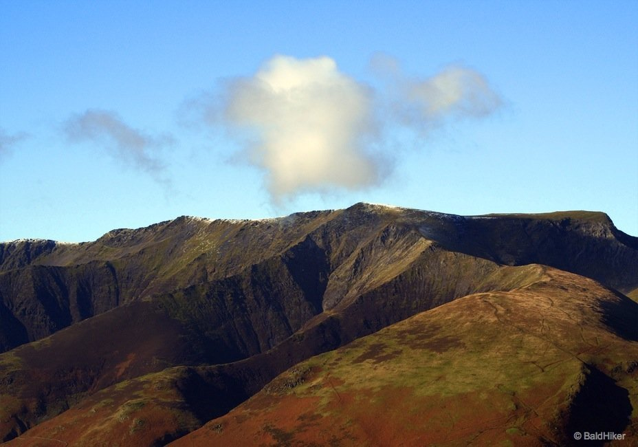 Taking a last look at Blencathra and its ridges before heading down
