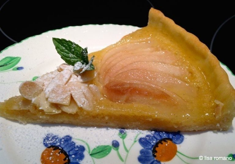 Pear & Almond Frangipane Tart with Lime Syrup
