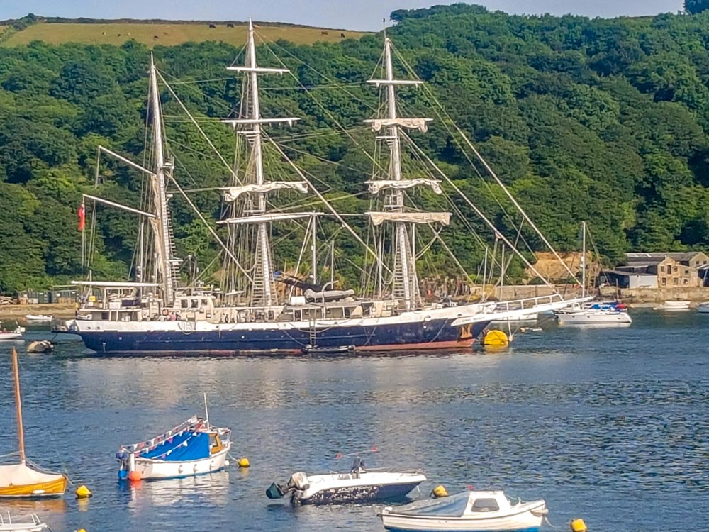 Tall-ship-on-estuary Fowey, a Whistle Stop Tour - a Real Cornish Joy