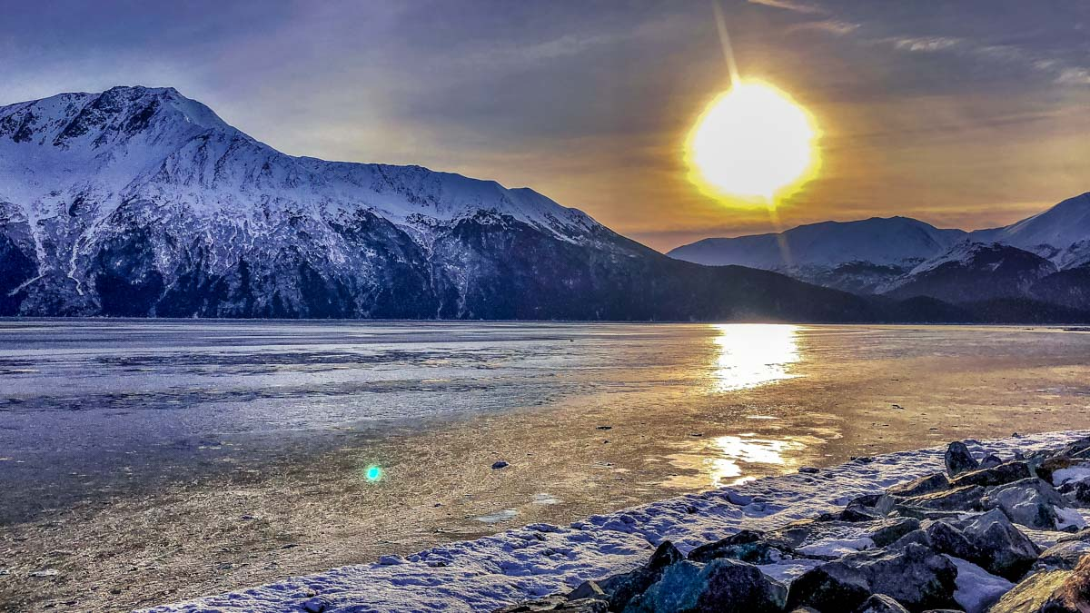 sunset cold Alaska