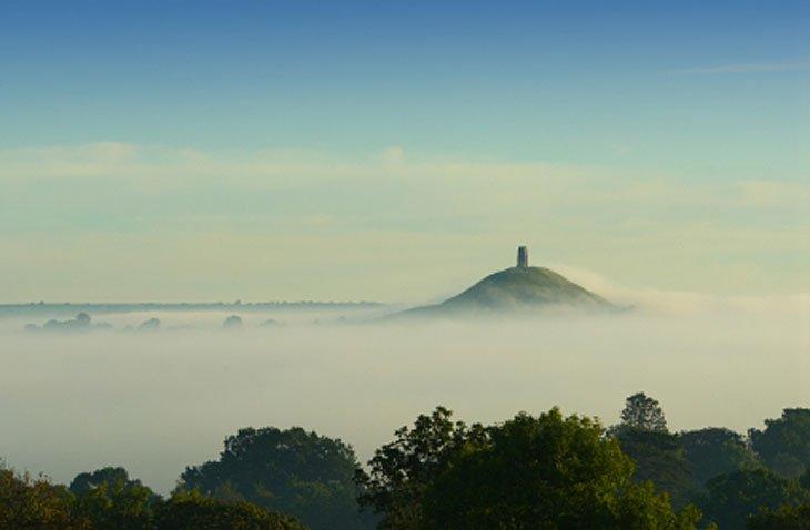 glastonbury tor in the mist