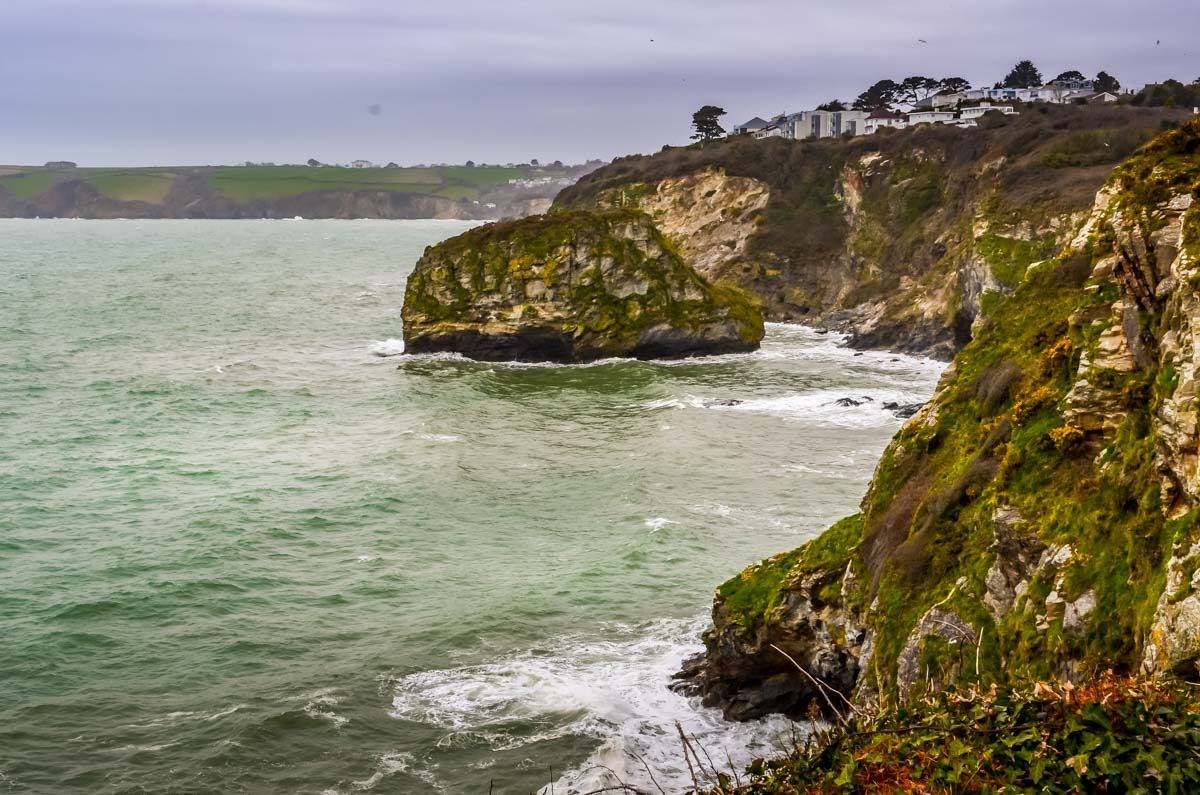 Waves-Crashing-on-Cliffs Cornwall – Walking the Coastal Path to Charlestown