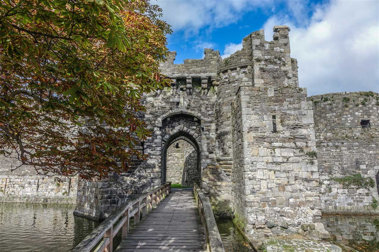 Beaumaris castle entrance and wooden bridge
