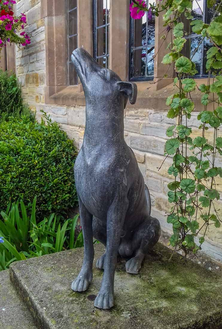 dog statue at hotel entrance