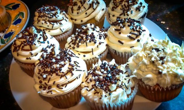 Salted Caramel Muffins with Chocolate Chips and Vanilla Icing