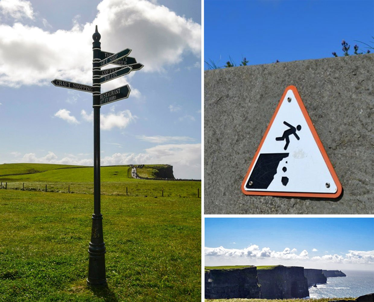 collage moher cliff signage