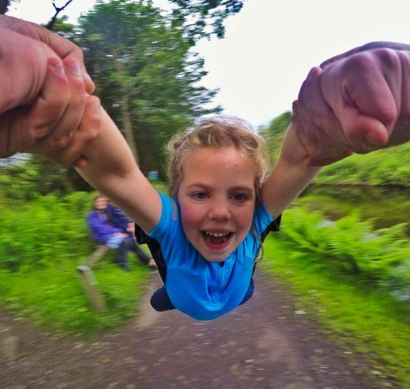 daughter having fun outdoors