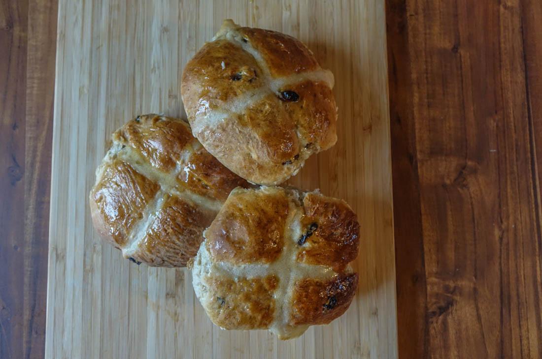 hot cross buns baked