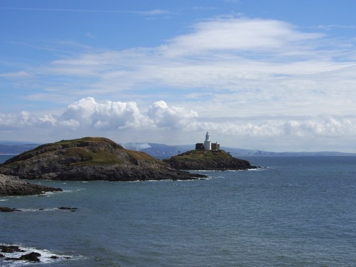 Mumbles lighthouse on the rocks