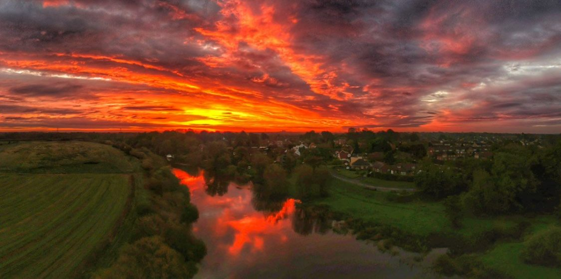 red sunset on the river ouse yorkshire