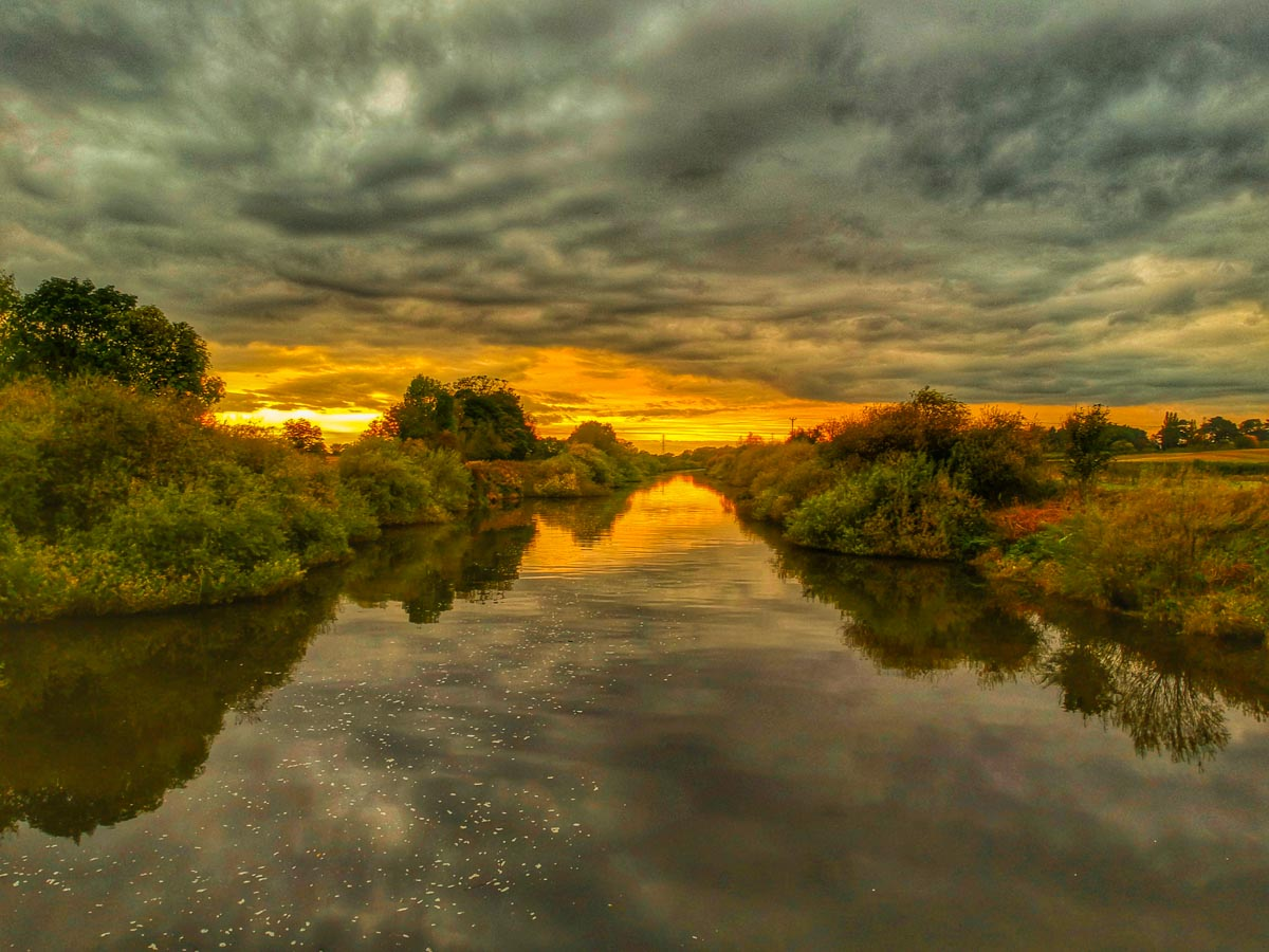 cloudy sunset on the river ouse york