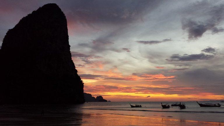 Watching Sunset on Railay Beach, Thailand