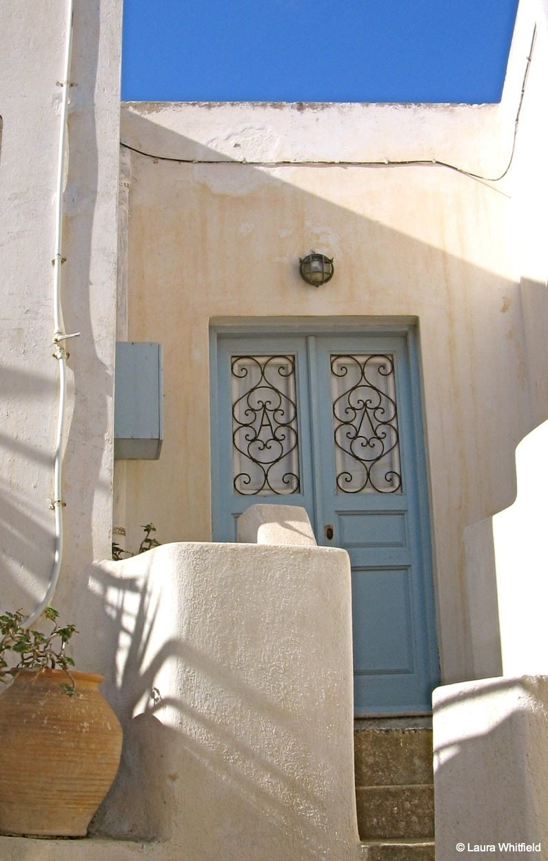 pale blue door santorini